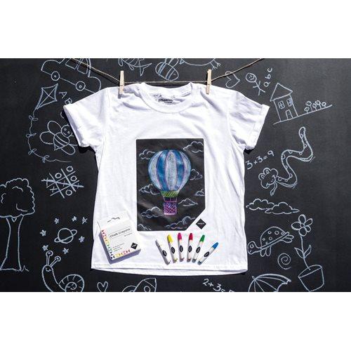 Chalkboard Apparel Krijtbord T-shirt voor Kinderen - met Krijtjes - Wit - 7-8 Jaar