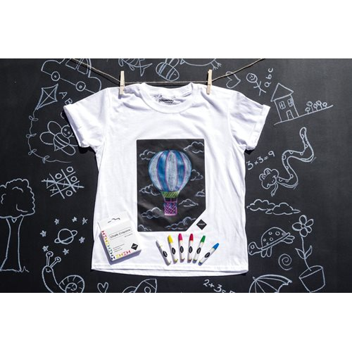 Chalkboard Apparel Chalkboard T-Shirt for Kids - with Chalk Crayons - White - 9-11 Years