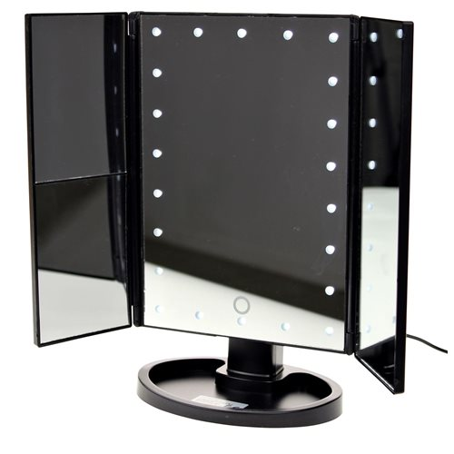 United Entertainment Luxury Touch Screen LED Light Make-Up Mirror - Black