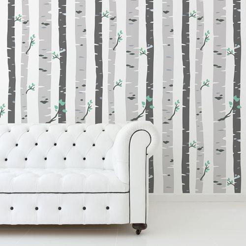 Walplus Birch Trees - Wall Decoration Sticker - Grey - 4 sheets of 60x90 cm