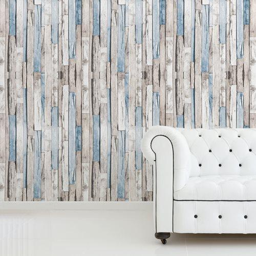 Walplus Timber Strips - Wall Decoration Sticker - Grijs/Blauw - 4 sheets of 60x90 cm