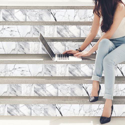 Walplus Marble Effect - Wall Sticker/Stair Sticker - 15x15 cm - 24 pieces