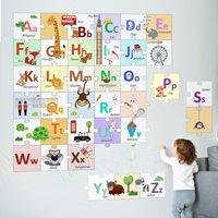 Walplus London Alphabeth - Kids Decoration Sticker - Puzzle of the Alphabet - 20x20 cm - 36 pieces
