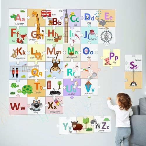 Walplus London Alphabets - Kinder Dekoration Wandaufkleber - Puzzle des Alphabets - 20x20 cm - 36 Stücke