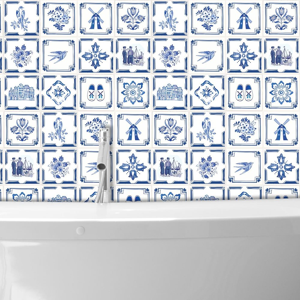 Walplus Delft Blue - Wall Sticker/Tile Sticker - 15x15 cm - 24 pieces