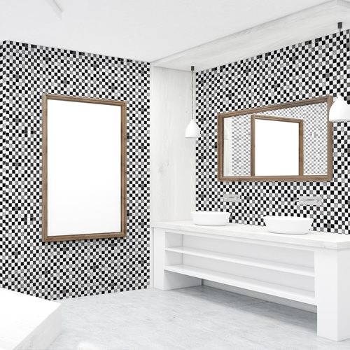 Walplus Schwarz/Weiß-Mosaik - Wandaufkleber/Fliesenaufkleber - 20x20 cm - 12 Stücke
