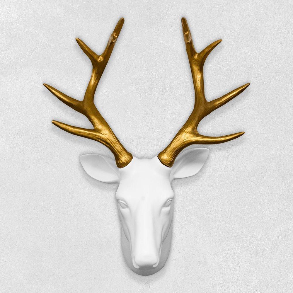 Walplus Deer Head - Wall Decoration - White/Gold