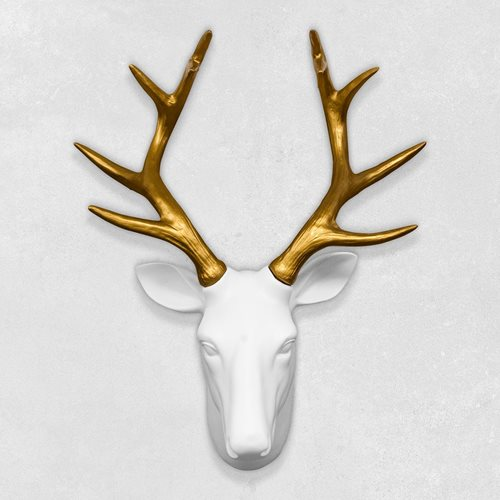 Walplus Rehkopf - Wanddekoration - Weiß/Gold