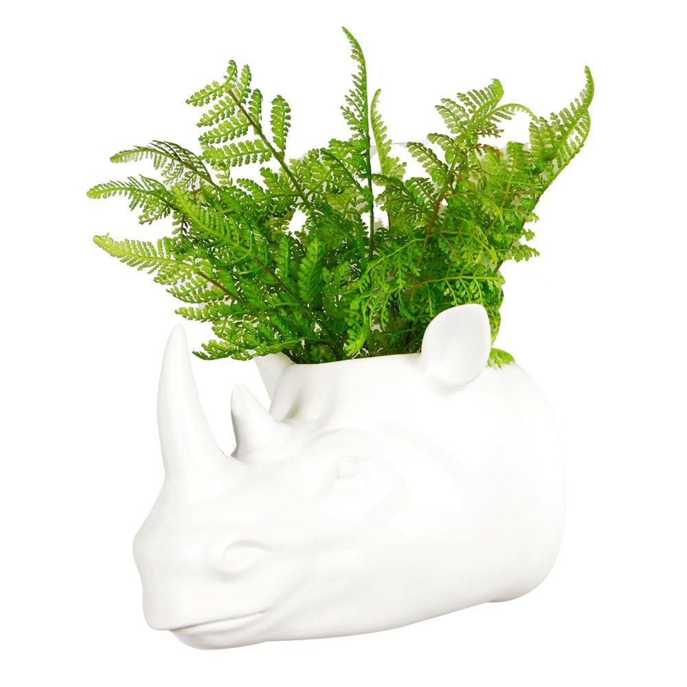 Walplus Rhino Flowerpot - Wall Decoration - White