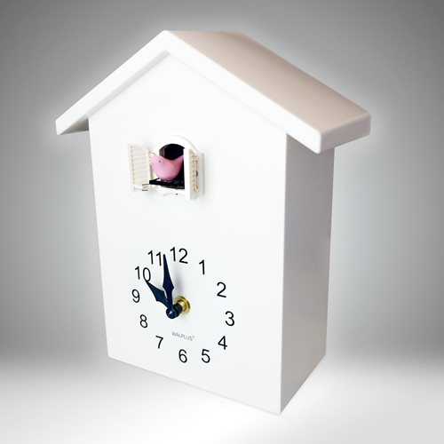 Walplus Minimalistische Kuckucksuhr - Wanduhr - Weiß mit Weißem Fenster