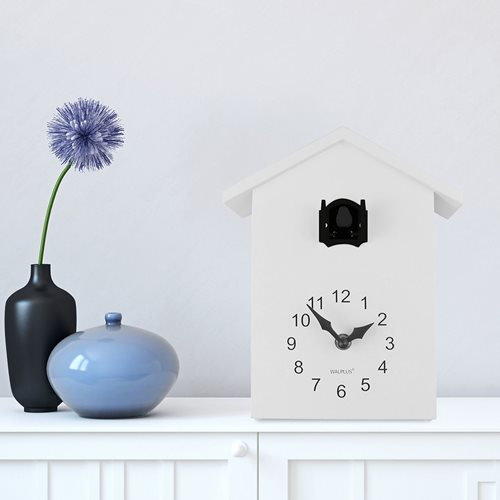 Walplus Minimalist Cuckoo Clock - Wall Clock - White with Black Window