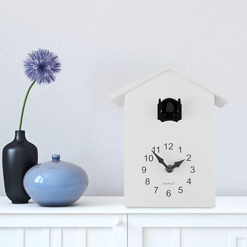 Walplus Minimalistische Kuckucksuhr - Wanduhr - Weiß mit Schwarzem Fenster