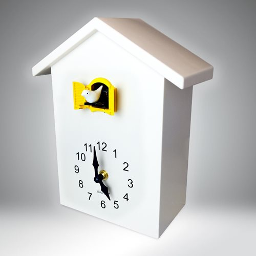 Walplus Minimalist Cuckoo Clock - Wall Clock - White with Yellow Window