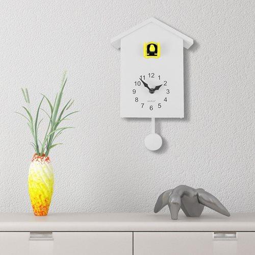 Walplus Minimalistische Kuckucksuhr - Wanduhr - Weiß mit Gelbem Fenster