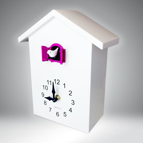 Walplus Minimalist Cuckoo Clock - Wall Clock - White with Pink Window