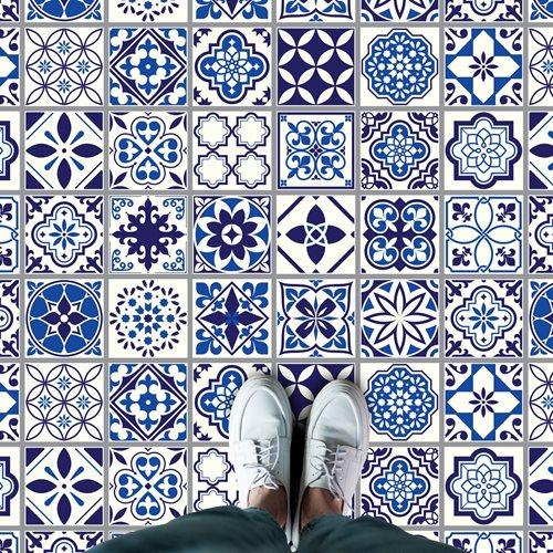 Walplus Spanish and Moroccan Mosaic - Home Decoration Sticker - Floor Sticker/Wall Sticker - Blue - 120x60 cm