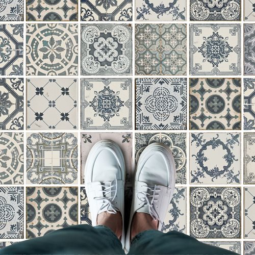 Walplus Azulejo - Home Decoration Sticker - Floor Sticker/Wall Sticker - Vintage Blue - 120x60 cm