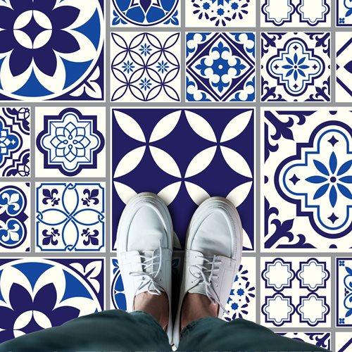 Walplus Spanisch und Marokkanisch Melange - Home Dekoration Wandaufkleber - Boden- oder Wandfliesen - Blau - 120x60 cm