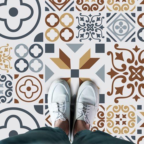 Walplus Azulejo Melange - Home Dekoration Wandaufkleber - Boden- oder Wandfliesen - 120x60 cm
