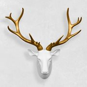 Walplus Red DeerHead - Wall Decoration - White/Gold
