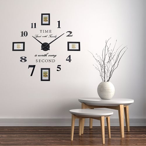 Walplus - Wall Clock - with Picture Frames - Black