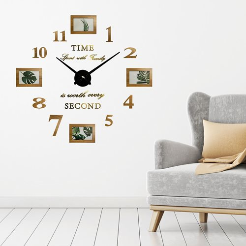 Walplus - Wall Clock - with Picture Frames - Wood Colour