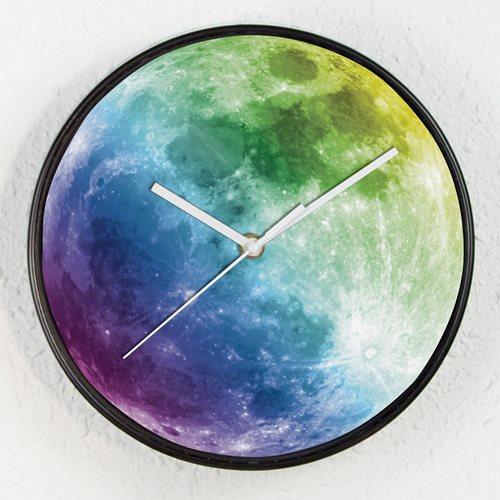 Walplus Bunter Mond - Wanduhr - Glüht im Dunkeln Uhr - für Kinder