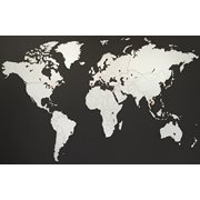 MiMi Innovations Luxury Wooden World Map - Wall Decoration - 130x78 cm/51.2x30.8 inch - White