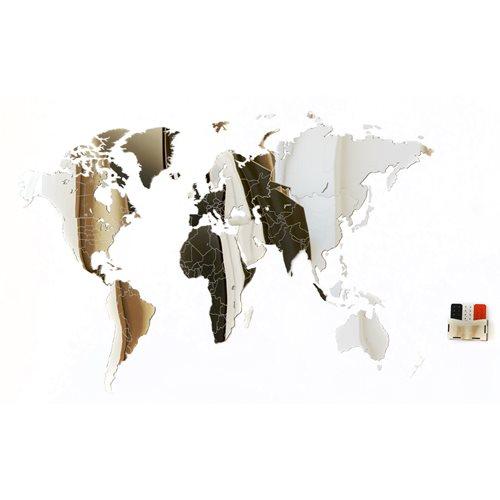 MiMi Innovations Luxe Spiegel Wereldkaart - Muurdecoratie - 90x54 cm/35.4x21.4 inch - Spiegel