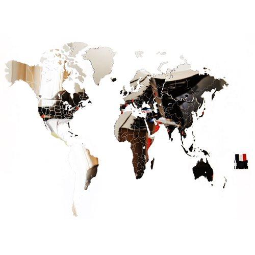 MiMi Innovations Luxury Mirror World Map - Wall Decoration - 130x78 cm/51.2x30.8 inch - Mirror