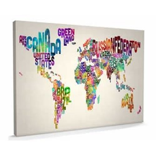 Text Art Map of the World - Canvas Large