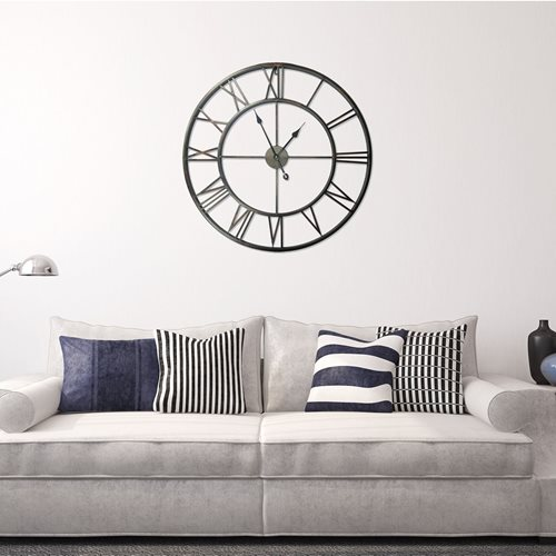 Walplus - Wall Clock - with Roman Numbers - Rustic Iron - 56 cm