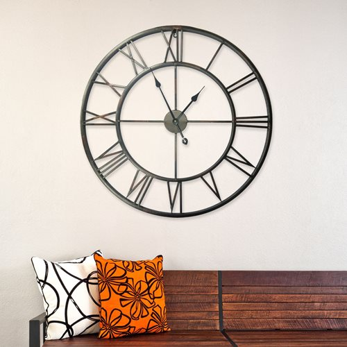 Walplus - Wall Clock - with Roman Numbers - Rustic Iron - 76 cm