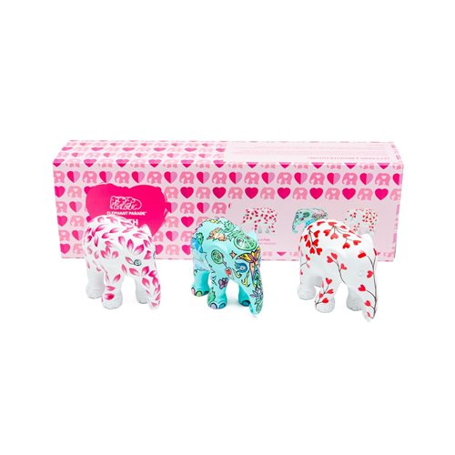 Elephant Parade With Love - Multipack - Hand-Crafted Elephant Statue - 3x7 cm