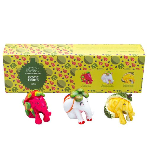 Elephant Parade Exotic Fruits - Multipack - Hand-Crafted Elephant Statue - 3 Set x 7 cm