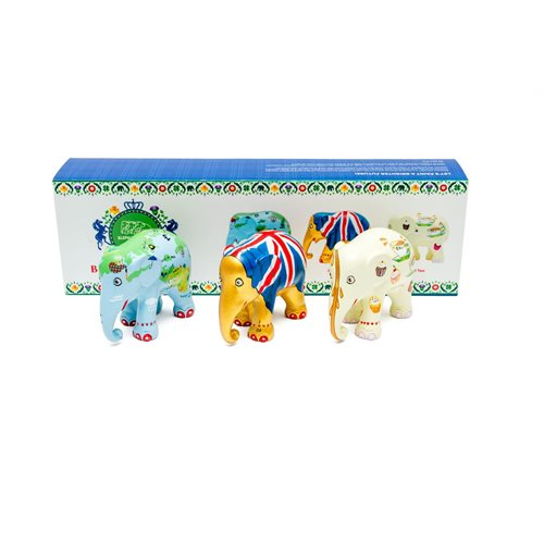 Elephant Parade British Stories - Multipack - Hand-Crafted Elephant Statue - 3x7 cm