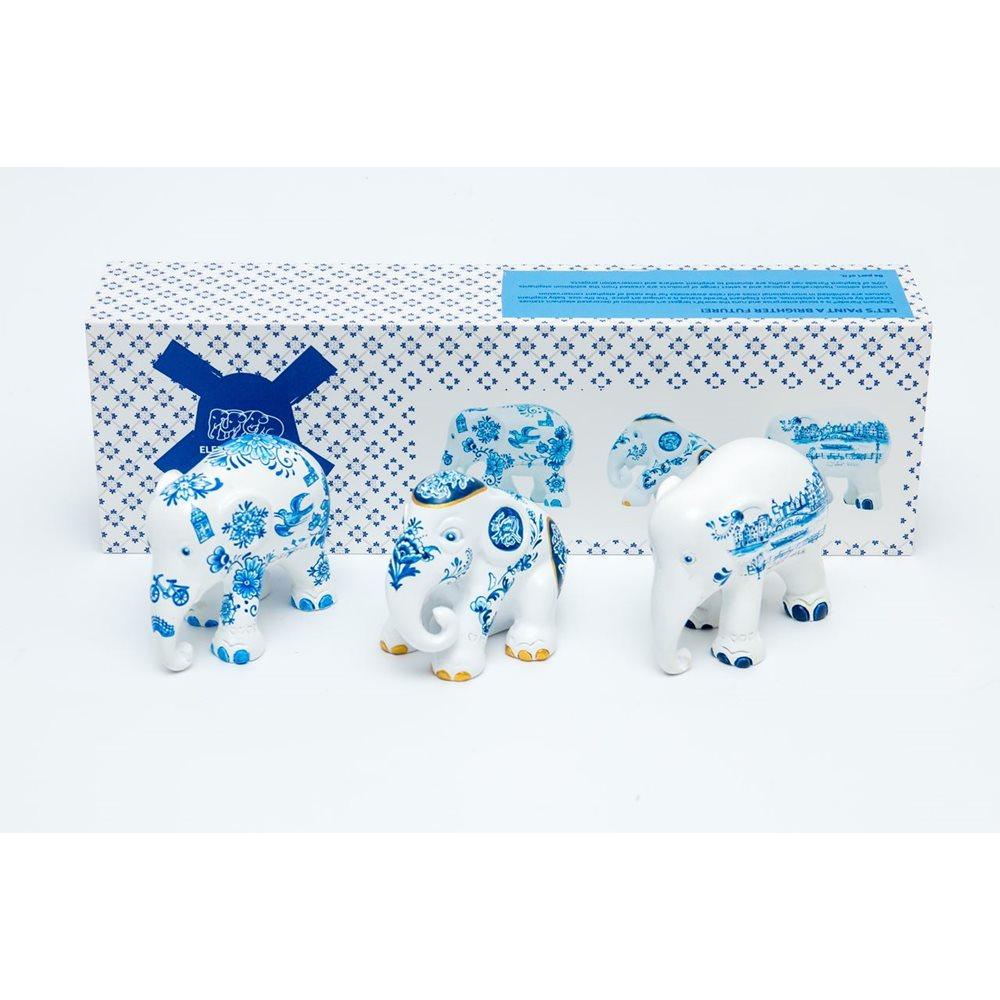 Elephant Parade Delft Blue - Multipack - Handgefertigte Elefantenstatue - 3x7 cm