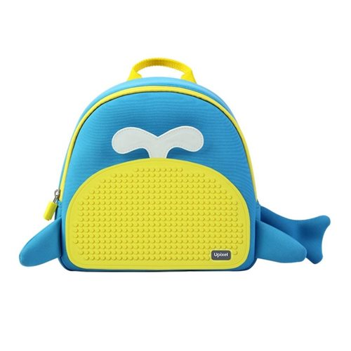 Upixel Little Blue Whale - Kids Backpack - DIY Pixel Art - Blue/Yellow