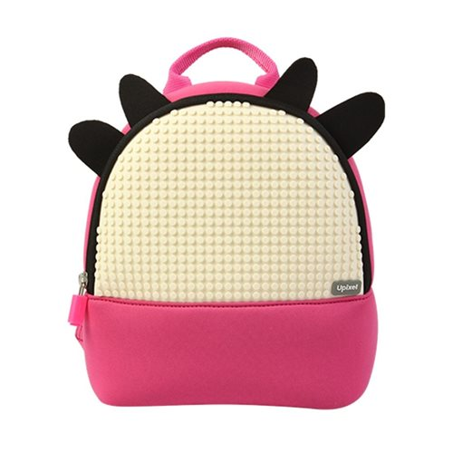 Upixel Doodle Cattle - Kids Backpack - DIY Pixel Art - Fuchsia/Milk White