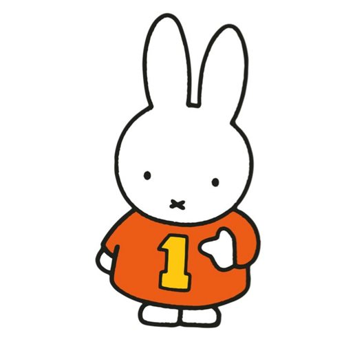 Kreisy Miffy Medium - Spielmatte in Form 114x60 cm - Weiß/Orange/Gelb