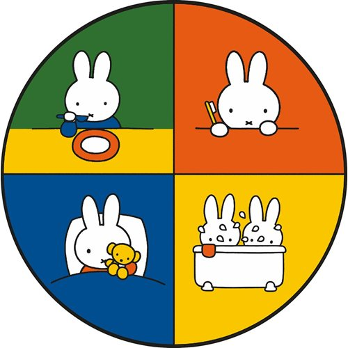 Kreisy Miffy Education - Spielmatte Velours 60x60 cm - Rund