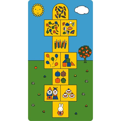 Kreisy Miffy Hop & Count/Hüpfen und Zählen - Spielmatte Velours 170x90 cm - Blau/Grün