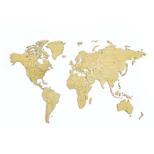 MiMi Innovations Exclusieve Houten Wereldkaart - Muurdecoratie - 130x78 cm/51.2x30.8 inch - Bamboe