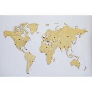 MiMi Innovations Exclusive Wooden World Map - Wall Decoration - 130x78 cm/51.2x30.8 inch - Bamboo