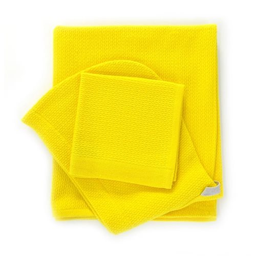 Ekobo Baño Baby Hooded Bath Towel with Wash Cloth 100% Organic Cotton 100x60 cm/30x30 cm - Lemon