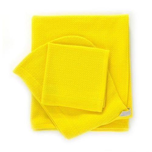 Ekobo Baño Baby Kapuzenbadetuch und Waschlappen 100% Organisch Baumwolle - 100x60cm/30x30 cm - Lemon