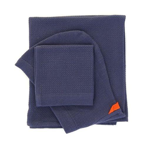 Ekobo Baño Baby Kapuzenbadetuch und Waschlappen 100% Organisch Baumwolle - 100x60cm/30x30 cm - Midnight Blue