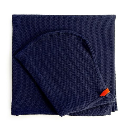Ekobo Baño Kids Hooded Towel 100% Organic Cotton - 140x70 cm - Midnight Blue