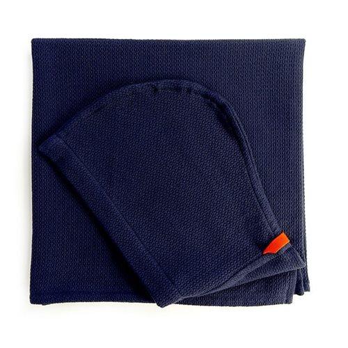 Ekobo Baño Kinder Kapuzenhandtuch 100% Organisch Baumwolle - 140x70 cm - Midnight Blue