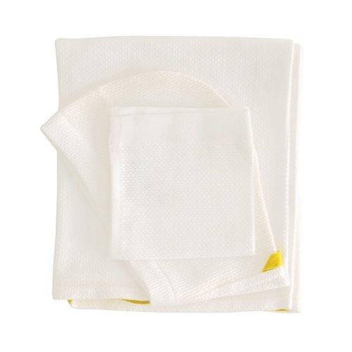 Ekobo Baño Baby Kapuzenbadetuch und Waschlappen 100% Organisch Baumwolle - 100x60cm/30x30 cm - Weiß